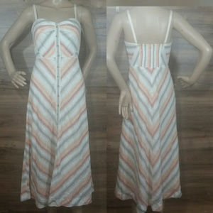 NWT Free People Striking Stripe Button Midi Dress